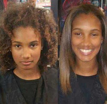 Joven antes y después del tratamiento de alisado Nanoplastia W-One en media melena afro