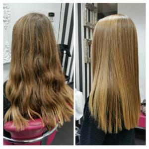 Antes y después del tratamiento de nanoplastia con W-One Premium en melena larga rubia