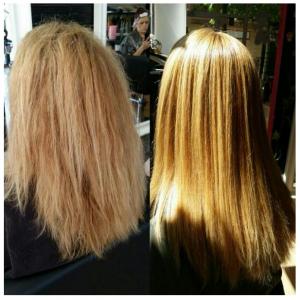 Antes y después del tratamiento de nanoplastia alisando melena rubia encrespada