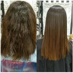 Antes y después del tratamiento alisado con W-One Premium en melena castaña