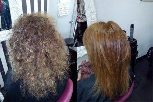 Antes y después del tratamiento de nanoplastia en melena rubia rizada